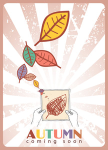 Sheet Of Paper In Hands And Leafs. Abstract Vector Illustration