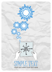 Sheet Of Paper In Hands And Snowflakes. Abstract Vector Illustration