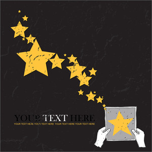Sheet Of Paper In Hands And Stars. Abstract Vector Illustration