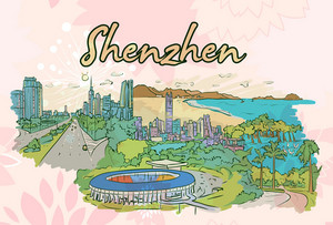 Shenzhen Doodles Vector Illustration