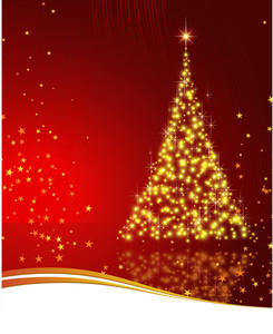 Shining Christmas Tree With Golden Sparkles. Vector.