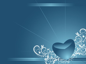 Shinning Heart With Floral Elements Isolated On Blue