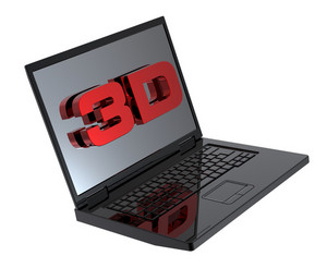 Shiny Black Laptop With 3d Screen Isolated On White.