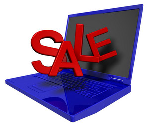 Shiny Blue Laptop With Red Sale Sign Isolated On White.