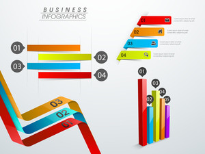 Shiny colorful infographics elements like ribbon