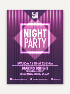 Shiny creative Night Party celebration flyer banner or template design.