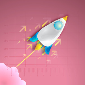 Shiny creative rocket on pink graph paper background for business startup.