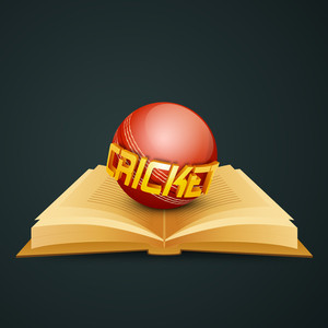 Shiny Cricket Ball On Golden Pages Sports Book.