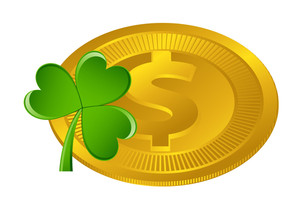 Shiny Dollar Sign Coin With Shamrock