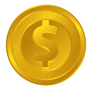 Shiny Dollar Symbol Coin Vector