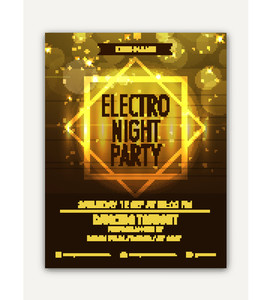 Shiny Elegant Electro Night Party celebration flyer banner or template design.