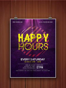 Shiny glossy elegant Happy Hours flyer banner or template design hanging on wooden background.