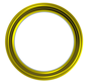 Shiny Gold Circular Frame Isolated On White Background.