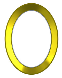 Shiny Gold Ellipse Frame Isolated On White Background.