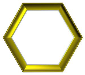Shiny Gold Hexagon Frame Isolated On White Background.
