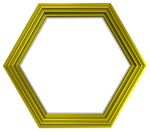 Shiny Gold Hexagon Frame Isolated On White Background.