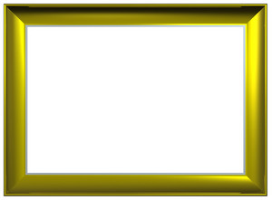 Shiny Gold Rectangular Frame Isolated On White Background.