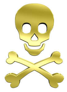 Shiny Gold Skull And Crossbones Isolated On White.