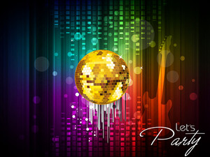 SHiny golden balls ion colorful abstract background.