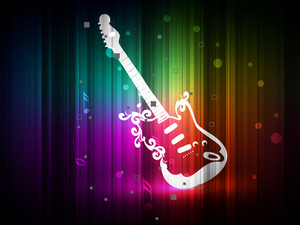 Shiny guitar on colorful abstract background.