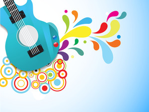 Shiny guitar on floral decorated abstract background.