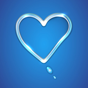 Shiny Heart Shape On Blue Background