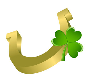 Shiny Horseshoe With Clover Leaf