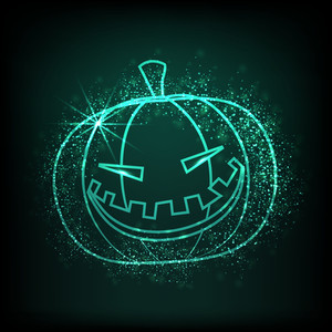 Shiny Illustration Of Scary Halloween Pumpkin