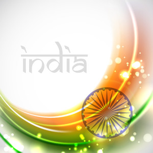 Shiny Indian Flag Wave Background.