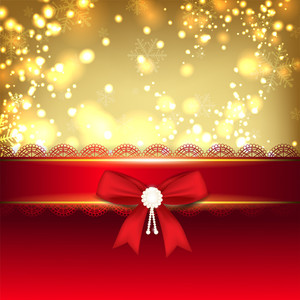 Shiny Merry Christmas Greeting Card With Red Ribbon.