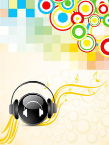Shiny musical ball with headphone on colorful abstract background.