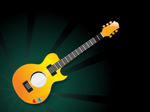 Shiny musical guitar on green abstract background.