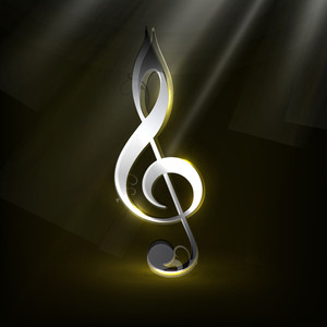 Shiny Musical Note On Abstract Background