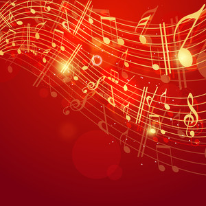 Shiny Musical Note On Red Beautiful Background