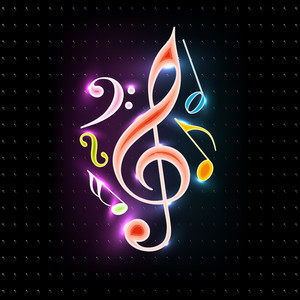 Shiny Musical Notes On Black Background. Vector.