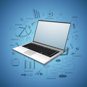 Shiny open laptop with various statistical infographic elements on blue background for business or corporate sector.