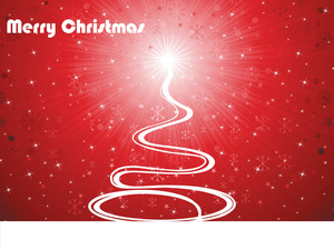 Shiny Rays Background With Curve Xmas Tree