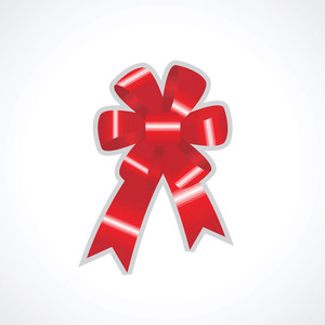 Shiny Red Bow For Gift Box