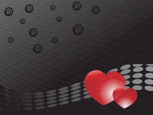 Shiny Red Heart Couple With Halftone Elements