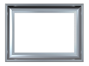 Shiny Silver Rectangular Frame Isolated On White Background.