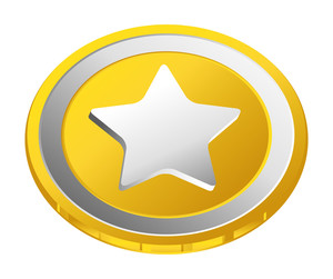 Shiny Silver Star Gold Coin