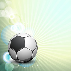 Shiny Soccer Ball On Rays Background And Space For Your Message