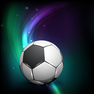 Shiny Soccer Ball On Wave Background And Space For Your Message