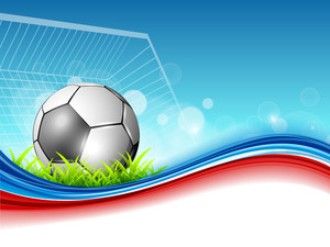 Shiny Soccer Ball Or Football On Shiny Colorful Wave Background.
