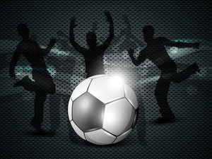 Shiny Soccer Ball With Football Players Silhouette.