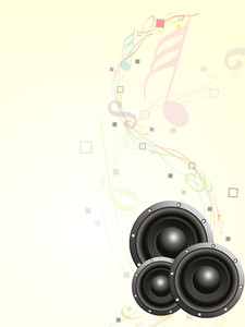 Shiny sound speaker on colorful nodes background.