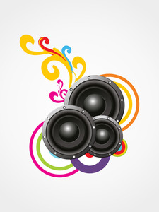 Shiny sounds on floral decorated abstract background.
