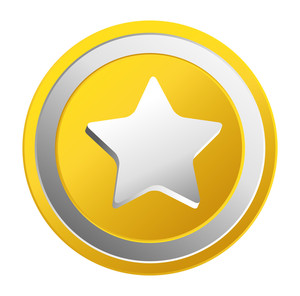 Shiny Star Gold Coin Vector
