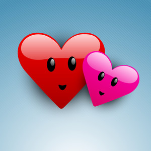 Shiny Two Love Hearts On Blue Background-