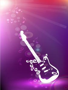 Shiny white guitar on purple background.